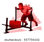 strong man pushes the heavy sled | Shutterstock .eps vector #557754142