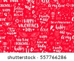 valentines day seamless doodles ... | Shutterstock .eps vector #557766286