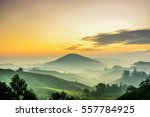 Stock photo cameron highlands malaysia sunrise at green tea farm mountain dramatic moving cloud in nature 557784925