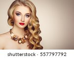 fashion portrait of young... | Shutterstock . vector #557797792