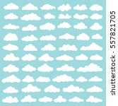 cloud set design clean vector | Shutterstock .eps vector #557821705