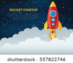 rocket and business startup... | Shutterstock .eps vector #557822746