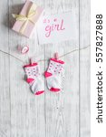 birth of girl   baby shower... | Shutterstock . vector #557827888