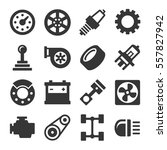 car parts icons set on white... | Shutterstock . vector #557827942