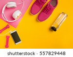athlete's set with female... | Shutterstock . vector #557829448