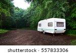 caravan trailer and a car on a... | Shutterstock . vector #557833306