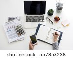 work process hands office... | Shutterstock . vector #557853238