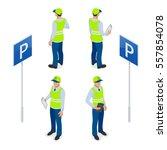 isometric parking attendant....   Shutterstock .eps vector #557854078