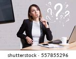 Small photo of Business question button work of office for notebook