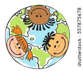 globe kids. international... | Shutterstock .eps vector #557875678