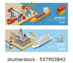 sea transportation isometric... | Shutterstock .eps vector #557903842