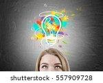 close up of a blond womans head.... | Shutterstock . vector #557909728