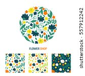 vector flower collection of... | Shutterstock .eps vector #557912242