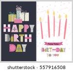 set of happy birthday greeting... | Shutterstock .eps vector #557916508