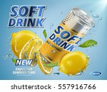 soft drink lemon flavor... | Shutterstock .eps vector #557916766