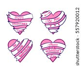 happy valentines day hearts ... | Shutterstock .eps vector #557920012