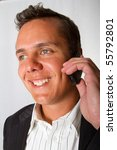 A man talking on a mobile phone - stock photo