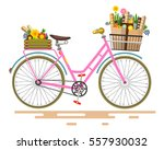 vector pink bicycle   bike with ... | Shutterstock .eps vector #557930032