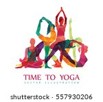 yoga fitness concept. vector... | Shutterstock .eps vector #557930206