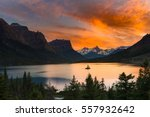 beautiful colorful sunset over... | Shutterstock . vector #557932642