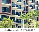 condominium and swiming pool... | Shutterstock . vector #557942422