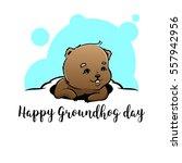 happy groundhog day vector... | Shutterstock .eps vector #557942956