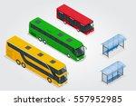 isometric double decker bus ... | Shutterstock .eps vector #557952985