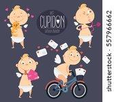 big set of cute cartoon cupids. ... | Shutterstock .eps vector #557966662