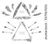 vector triangle boho frames... | Shutterstock .eps vector #557967052