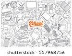 hand drawn set of school... | Shutterstock .eps vector #557968756