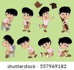 all of kids different pose... | Shutterstock .eps vector #557969182
