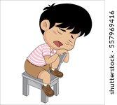 cute kid sleep in the classroom....   Shutterstock .eps vector #557969416