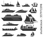 ships and boats icons. barge ... | Shutterstock .eps vector #557972398