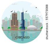 Chicago City Skyline With...