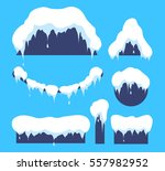 snow on the roof. weather...   Shutterstock .eps vector #557982952