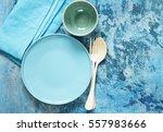 blue table setting   plates ... | Shutterstock . vector #557983666