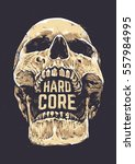 hard core skull vector art.... | Shutterstock .eps vector #557984995