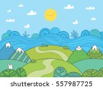 cute cartoon meadow with... | Shutterstock .eps vector #557987725