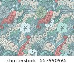 seamless pattern with japanese... | Shutterstock .eps vector #557990965