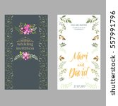 floral wedding invitation... | Shutterstock .eps vector #557991796