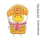 mr. breakfast funny food... | Shutterstock .eps vector #557992702