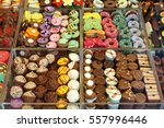 colorful chocolates and... | Shutterstock . vector #557996446