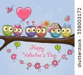 valentines card with six cute... | Shutterstock .eps vector #558003172