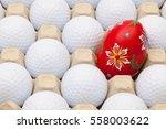 white golf balls in the box for ... | Shutterstock . vector #558003622