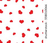 Seamless Red Hearts Pattern On...