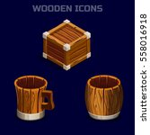 set isometric cartoon wooden...