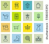 set of 16 planting icons.... | Shutterstock .eps vector #558035392