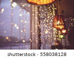 the window is decorated with... | Shutterstock . vector #558038128