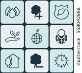 set of 9 eco friendly icons.... | Shutterstock . vector #558042886