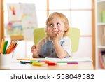 smiling child having an idea... | Shutterstock . vector #558049582